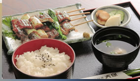 Unagi Negima (grilled eel with green onion and green peppers) set meal2,800yen
